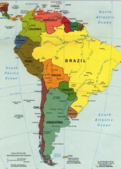 Mapa de extensión del tomate árbol en sur américa