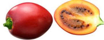Imagen exterior y partido de un tomate árbol