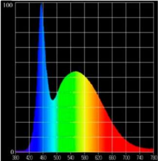 Espectro de luz de una lámpara estándar.